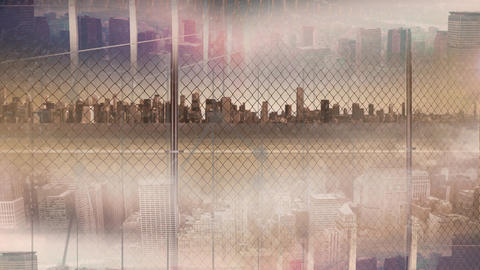 Skyline on sunny day with fence Animation