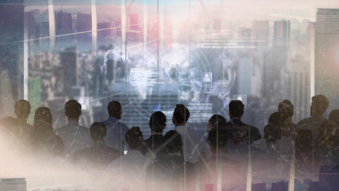 Business people in skyscraper looking at animated globe Animation
