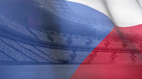 Czech republic flag against soccer stadium Animation