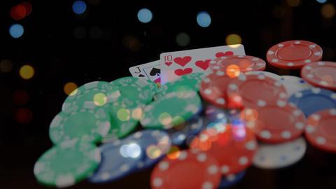 Animation of poker chips and cards Animation