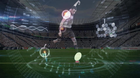 Side view of a rugbyman shooting an oval ball Animation