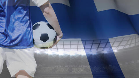 Soccer player and Finnish flag against stadium Animation