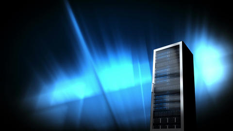 server against blue lights background Animation