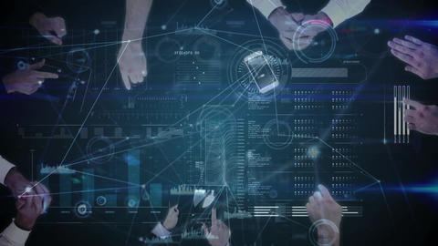 Digital composite of group of Business people using electronic devices Animation