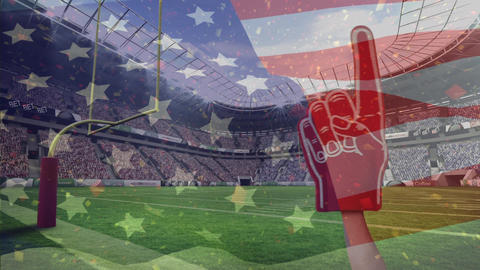 American football fan using red foam finger to support American football players and American flag w Animation