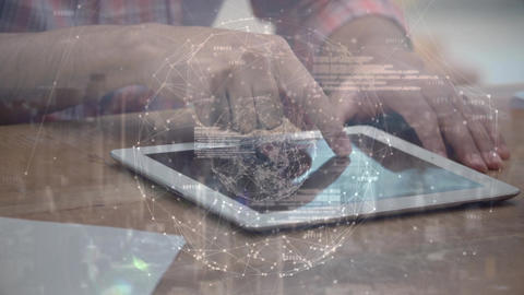 Male using digital tablet with his finger Animation