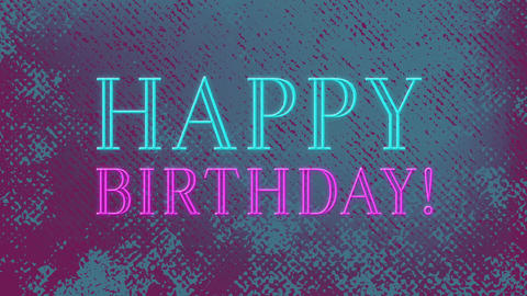 Animation of happy birthday text sparkling in pink color 4k Animation