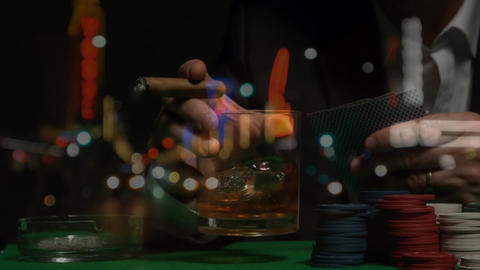 Man holding cigar and alcohol in Las Vegas Animation