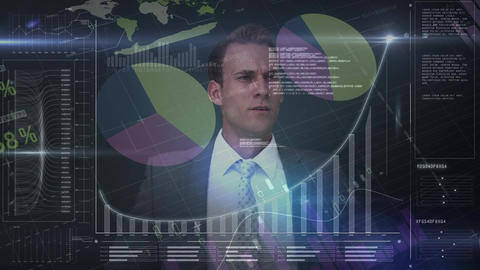 Caucasian businessman drawing graph and data on the background Animation