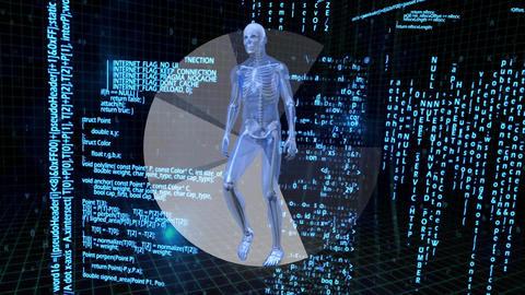 Skeleton walking with binary code on background Animation