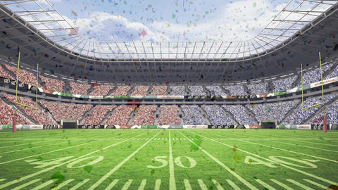 Stadium with confetti falling down Animation