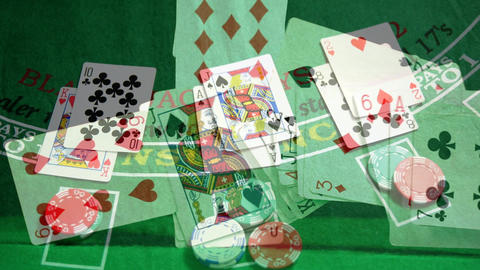 Digital composite of poker chips on the green mat Animation