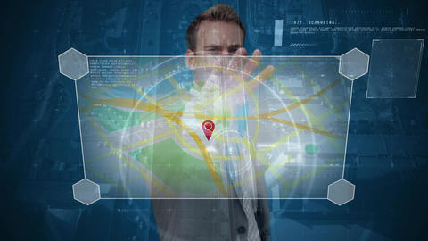 Businessman using maps against city Animation