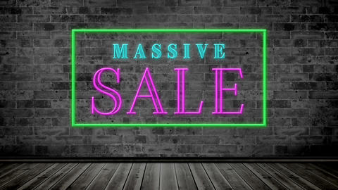 Animation of massive sale text sparkling in a frame 4k Animation