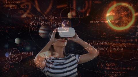 Girl using virtual reality headset 4k Animation