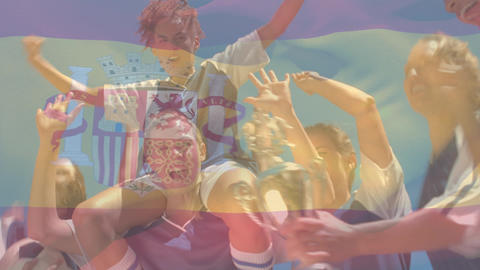 Soccer team celebrating victory Animation
