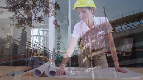 Female architect looking at blueprints with construction site Animation