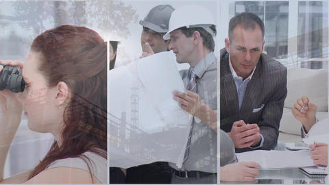 Architects working at construction site Animation