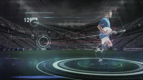 Rugby player running with football and interface Animation