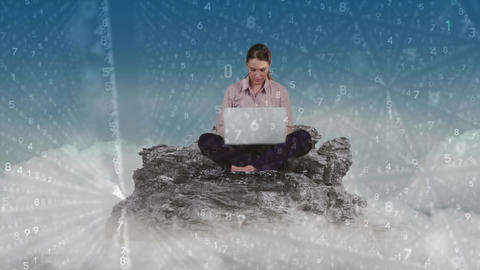Female sitting cross-legged on mountain Animation