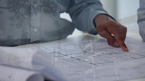 Architects discussing over blueprints with construction site Animation