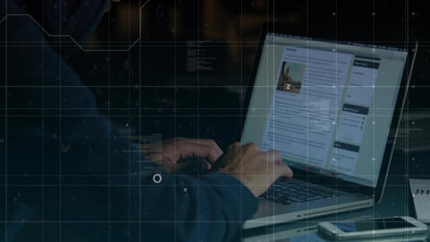 Male using laptop for social media platform Animation