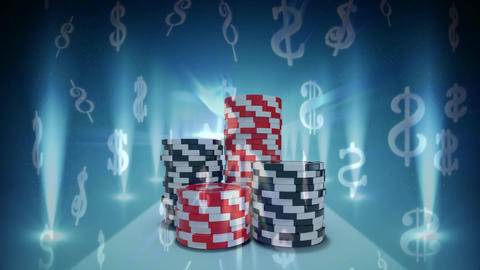Four piles of poker chips Animation