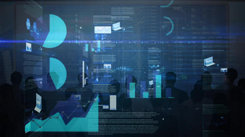 Futuristic screen projecting statistical data Animation