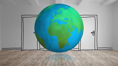 Globe turning with cartoon door 4k Animation
