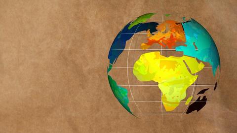Globe turning on cardboard background 4k Animation