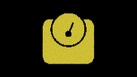 Symbol weight is knitted from a woolen thread. Knit like a sweater Animation