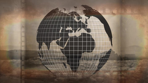 Globe rotating against vintage movie stripe Animation