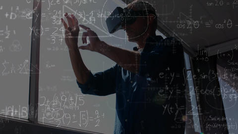 Man using a VR helmet with calculations on the foreground Animation