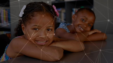 Children leaning on the table with light connections Animation
