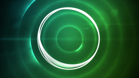 Rotating circles on a green light effects background Animation