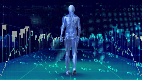 Human prototype walking surrounded by data financials Animation
