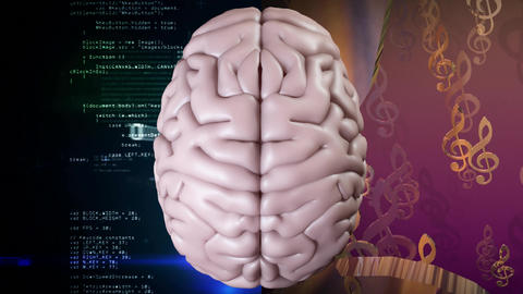 Animation of the top of brain against a musical notes and binary codes with data scrolling Animation