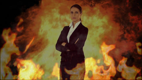 Serious woman with fire animation Animation