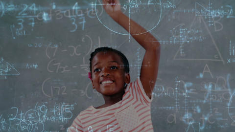 Schoolchild raising his hand with mathematical information 4k Animation