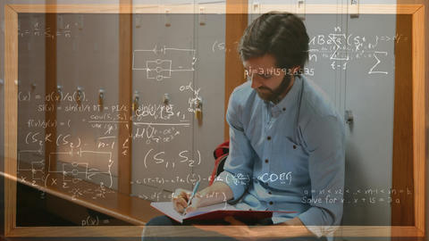 Student working against lockers with calculations on the foreground Animation