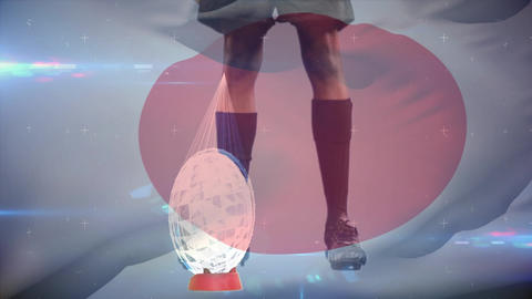 Rugby player kicking football from tee Animation