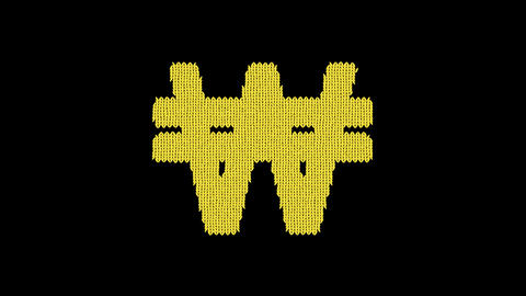 Symbol won sign is knitted from a woolen thread. Knit like a sweater Animation