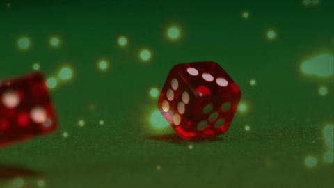Red dice falling down on green table Animation