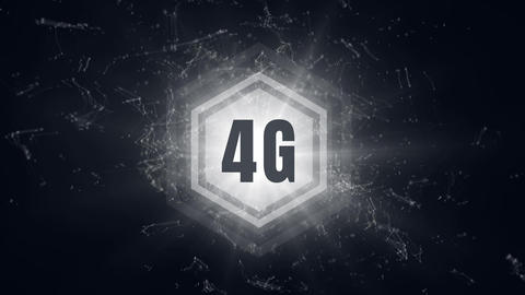 4G logo on a button surrounded by data connections Animation