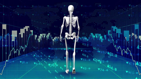 Human skeleton walking surrounded by data financials Animation