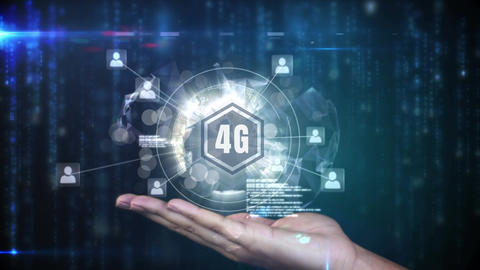 4g logo on a button surrounded by data connected on a dark background Animation