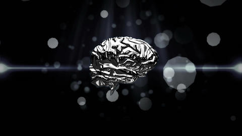 Spinning iron brain on a black background Stock Video Footage