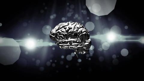 Spinning iron brain on a black background Animation