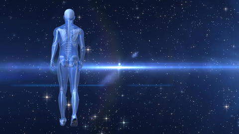 Rear view of a human prototype walking on a dark background with a shooting star Animation