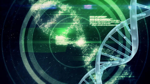 Spinning DNA against codes and futuristic circles Animation
